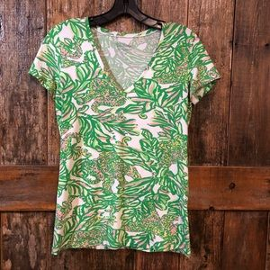 Lilly Pulitzer, S, Green, Pink, Tropical, T-Shirt